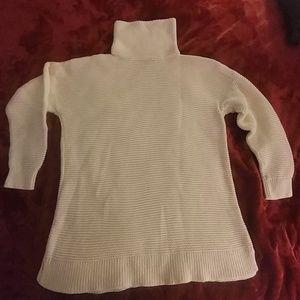 Lands End turtleneck tunic sweater cream size L